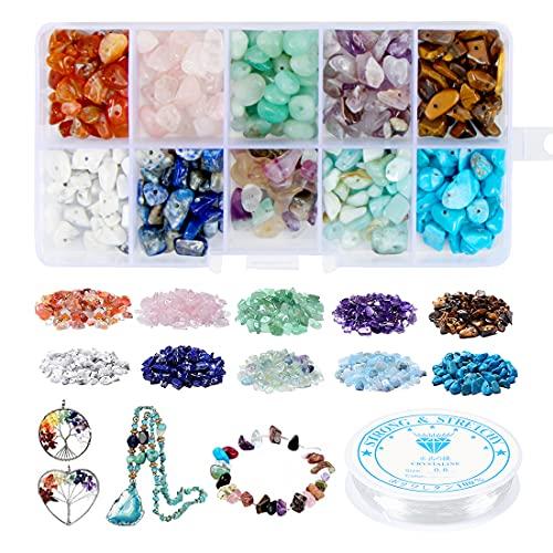 Zaloife Perline di Pietra Irregolari, 10 Colori Perline di Pietre Preziose Kit, Naturali Irregolari Gemme, Pietre Miste Irregolare Sono Utilizzate in Braccialetti, Collane, Creazione di Gioielli