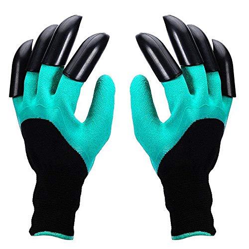 2 pares Guantes de Jardin, Guante de Jardinería con Garras de Plástico ABS, Garden Genie Gloves para Excavar, Plantar Weeding y Poking, Mejor Regalo para los Jardineros - Verde