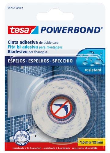 Tesa 55732-00002-02 Powerbond Ruban adhésif double face fort spécial miroir 1,5 m x 19 mm