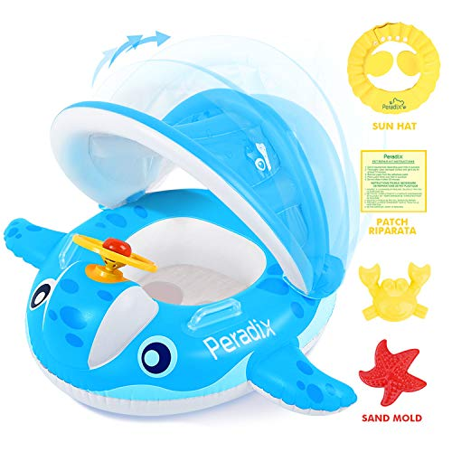 PeradixBabyPoolFloatwithCanopySunshade,WhaleInfantsWaterToysInflatableSwimmingRingforToddlersinSummer,withSunhat&SandPlayMoldsToys(Blue)