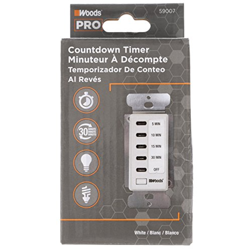 Woods 59007WD In-Wall 30-Minute Decora Digital Countdown Timer,White