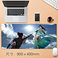 Vampsky スカイビッグデスクテーブルマット厚み付けノンスリップゴム耐水性デスクマットノートパソコンのキーボードパッドで縫製エッジまで延長大プロフェッショナルゲーミングマウスパッド日本のアニメブレイク (サイズ : Thickness: 4mm)