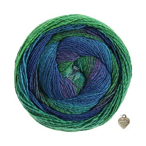 Lana Grossa - Gomitolo Versione 200g Kammgarn -Bobble Wolle mit Farbverlauf und Herz Dunkel-Blattgrün-See-Tintenblau-Blauviolett