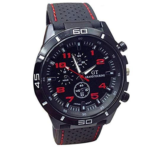 Skpink Sportive Armbanduhr Auto Corsa Silikon Zifferblatt Große Mode Uhren Quarzuhr, Herren, rot, 4.2cm