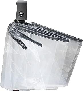 Compact Fully Automatic Umbrella Three Folding Clear Windproof Umbrellas Women Men 8 Rib Rainproof Transparent Umbrella Gift - Black