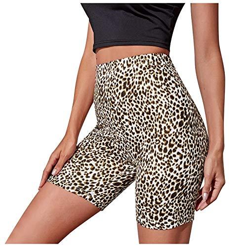 Leggings Mujer Deporte Cintura Alta Mallas con Estampado de Leopardo y Cereza Pantalones Corta Deportivos Leggins para Yoga Running Fitness