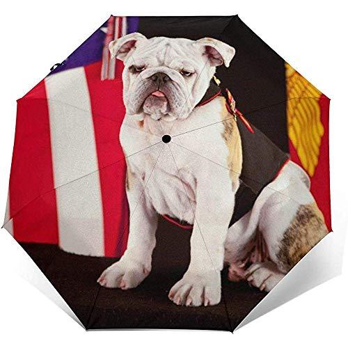Paraguas Abierto automático Cierre Triple de Viaje Nosotros Marine Corps Inglés Bulldog Paraguas Plegable Exterior Wall Printing Sun Umbrella