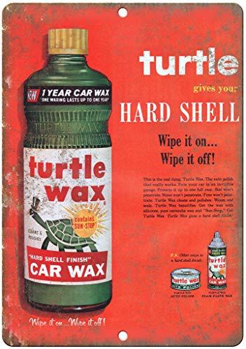 JOHUA Cartel de metal con forma de tortuga de cera dura para coche, placa de metal para garaje, casa, cafetería, oficina, decoración de pared