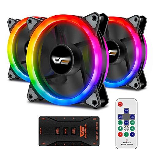 Aigo Aurora - Ventilador de Carcasa DR12 con LED RGB de 120 mm de Alto Rendimiento, Ajustable, Colorido, para PC y CPU, Enfriador de refrigeración DR12 3 Pack 120 mm