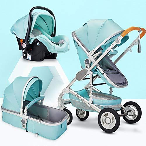 Multifunctioneel kinderwagenreissysteem 3 in 1, met schokbestendige kinderstoel voor pasgeboren en peuter opvouwbare antischokwagen met hoog zicht