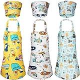 Syhood 6 Piezas Set de Delantales Sombreros de Chef de Niños Delantales Ajustables de Cocina de Dibujos Animados de Chef con Bolsillos y Gorros de Cocina para Niños de 3-5 Años (Estilo Coche)