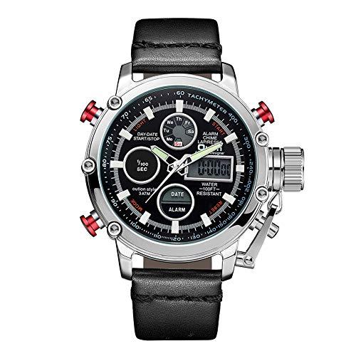 SW Watches Oulm Reloj para Hombre Analogico De Cuarzo,Reloj Digital De Doble Pantalla con Correa De Piel HP3811 Plata,Black