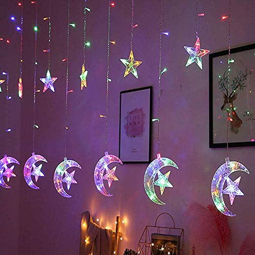 MOWIN Eid Moon Star Curtain String Lights,3.5 m 126 LED Window Curtain Lights, Mains Powered 8 Lighting Modes Curtain Fairy String Decor Lights for Window,Garden,Patio Ramadan Decoration (Multicolor)