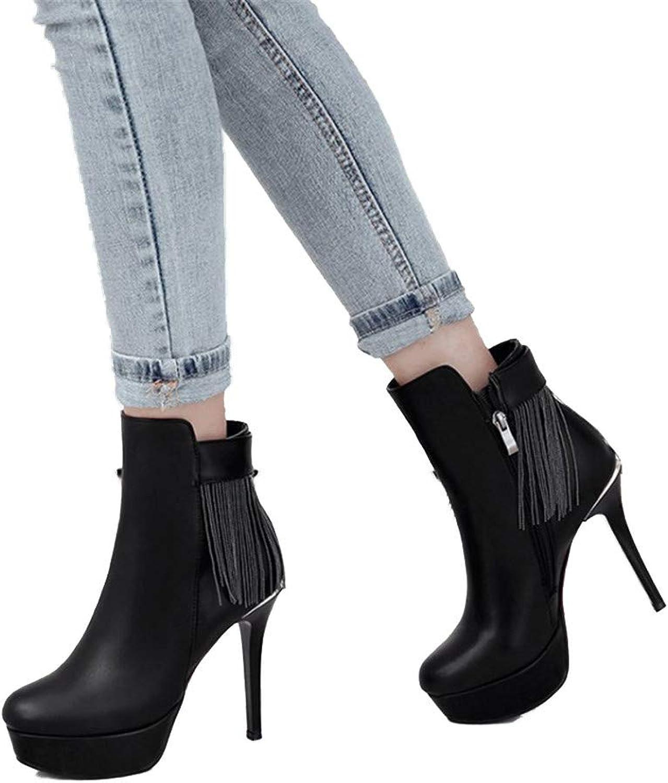 Shirloy Rutschfeste, verschleißfeste Gummisohle Stiefel mit Stiletto-Plattform Damen Damen Damen Stiefel High Heel Low Stiefel  2da0cf