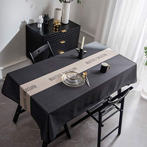 HTUO Tablecloth Christmas Decoration Rectangular Table Cover Round Wipe Clean Tablecloth Dining Table Waterproof Anti Scalding Coffee Table Mat Cover Cloth Grey 135 * 160 Cm