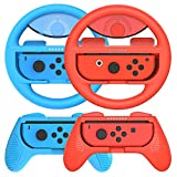 momen Switch Steering Wheel and Joycon Grips 4 Pack for Mario Kart 8 Deluxe Nintendo Switch,Mariokart Switch Steering Wheel (Joycon Controller Attachment Accessories 2xWheels,2xGrips)