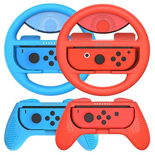 momen Switch Joy-Con Lenkrad und Griff für Switch Joy-con Controller - Deluxe 4 Stück Nintendo Switch Lenkrad, Joy Con Lenkrad Adapter, Joy-Con Hand Griff Kits Kompatibel mit Mario Kart 8, Rot & Blau