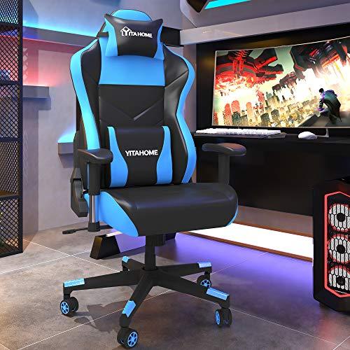 YITAHOME Gaming Stuhl Bürostuhl Racing Stuhl, Ergonomischer Schreibtischstuhl mit hoher Rückenlehne, Einstellbare Armlehne, PU-Leder mit Massage Lendenwirbelstütze, Schwarz-Blau