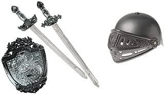 Knight Viking Helmet & Toy Swords Shield Bundle 4 Piece Set