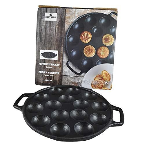 Cast Iron Poffertjes Pfannkuchenpfanne, emaillierter Boden, holländische Mini-Pfannkuchenpresse