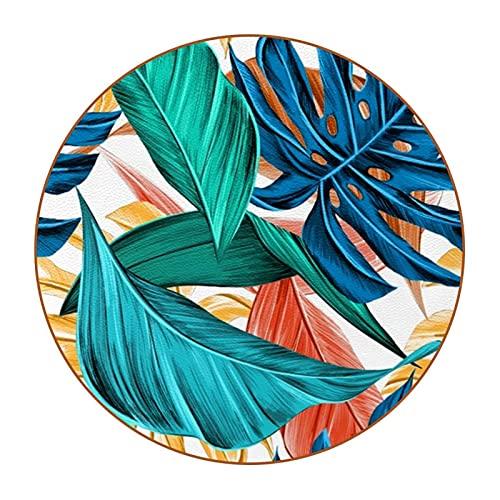 Juego de 6 posavasos para beber, paquete de gran valor, protector de mesa, moderno antideslizante de microfibra de piel, apto para beber, café, azul, verde y rojo hojas