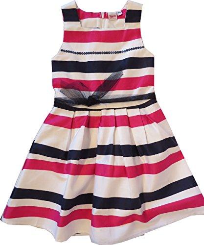 Topo, Mädchenkleid - festliches Kleid, weiß-pink-schwarz Geringelt (104)