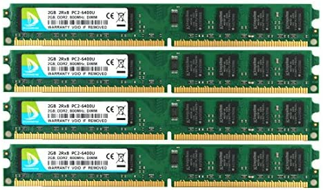 DUOMEIQI 8GB Kit (4X 2GB) DIMM UDIMM PC2-6400U DDR2 800MHz PC2-6400 CL6 1.8v 240 PIN Desktop Memory RAM Module Fit for Intel AMD System Non-ECC Unbuffered
