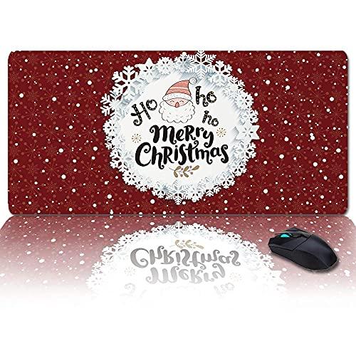 Übergroßes Gaming-Mauspad Extended XXL Computer-Mauspad HO Frohe Weihnachten Weihnachtsmann-Schreibtischunterlage mit rutschfester Rückseite für Laptop-Desktop-Tastatur