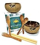 BACOBOO JUMBO Coconut Bowl gewachst mit Löffel, Gabel und Bambushalm | Kokosnuss Schale | Nachhaltige Bowl Schüssel | Buddha Bowl | Plastikfreie Alternative