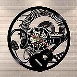 Reloj de pared para guitarra con grabador de vinilo y notas musicales de onda, para decoración del hogar, para sala de música, estudio, decoración de pared