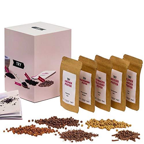 Pfeffer Set Geschenkset I Grüner Pfeffer, Roter Pfeffer, Langer Pfeffer, Tellicherry-Pfeffer I Hochwertige Geschenke Feinschmecker Probierset