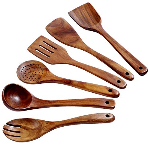 Wooden Kitchen Utensil Set Uncoated Dishwasher Safe Bamboo Cooking Utensils Set with Holes, Organic Teak Wooden Spoons for Cooking (Dark Brown)