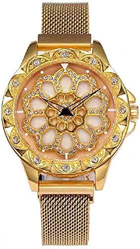 JZDH Mano Reloj Reloj de Pulsera Rhinestone de Lujo Magnético Relojes de Pulsera Mujeres Rotating Dial Relk Ladies Relogiono Relojes Decorativos Casuales (Color : Gold)