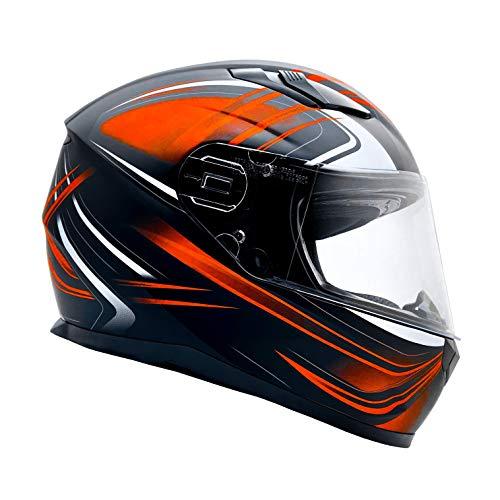 Typhoon Adult Full Face Motorcycle Helmet w/Drop Down Sun Shield DOT Certified - Same Day Shipping (Matte Orange, Medium)