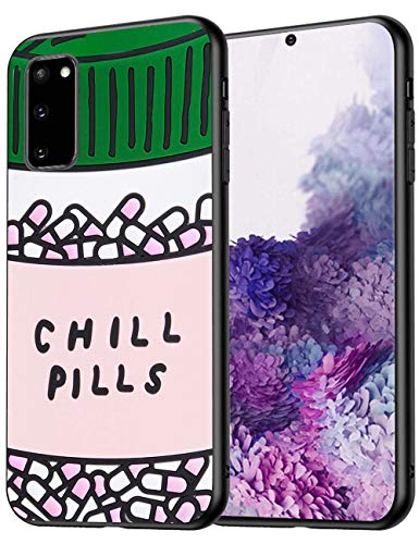 Chill Pills Samsung Galaxy S20 Case Protective Phone Shockproof Black TPU Silicone Case for Samsung Galaxy S20