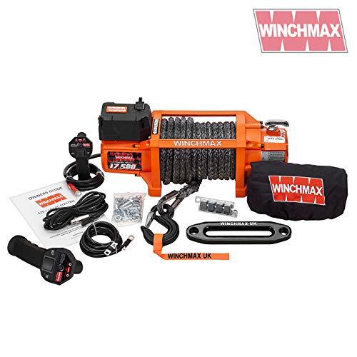 Winchmax Elektrische Seilwinde 12 V Recovery 4x4 17500 lb SL Original Orange Winde drahtlose Fernbedienung DYNEEMA