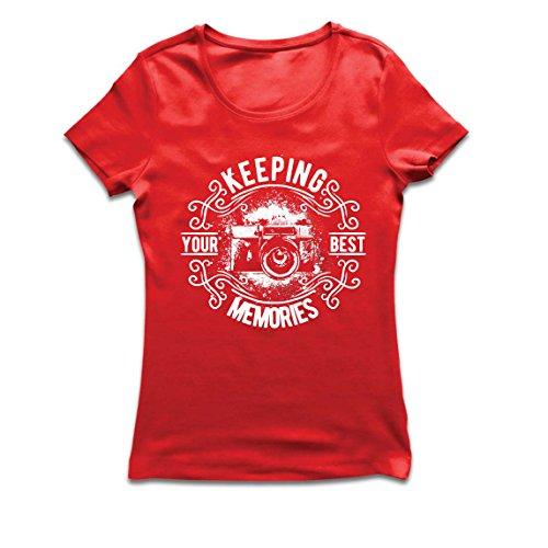 lepni.me Camiseta Mujer Cámara del fotógrafo, Foto - manteniendo Sus Mejores Recuerdos, Amante de la fotografía (X-Large Rojo Multicolor)