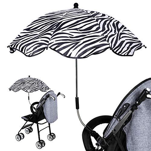 Sombrilla para cochecito de bebé, sombrilla con abrazadera para bebé, sombrilla para sombrilla, cubierta para toldo de lluvia, 360 grados ajustable para silla de paseo, paraguas de protección UV