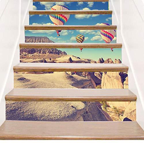 Y-XM Calcomanías para Escalera Pegatinas Decorativas de DIY Aire Caliente Globo cañón Pared Antideslizante extraíble Parche Adhesivo a Prueba de Agua