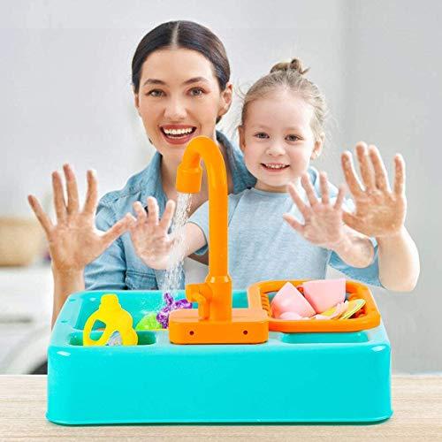 NIWWIN Pretend Play Kids Kitchen Sink Toys Set mit fließendem Wasser Lerngeschenke Jungen Mädchen Simulation Geschirrspüler Arbeitsarmatur & Abfluss Geschenke (Grün)
