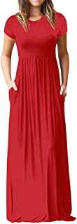 Fankle Women's Casual Short Sleeve Plain Maxi Long Dress with Pockets
