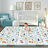 Gimars XL 0.6 inch Thicker Reversible Foldable Baby Play Mat, Waterproof Foam Floor Baby Crawling Mat, Portable Baby Playmat for Infants, Toddler, Kids, Indoor Outdoor Use