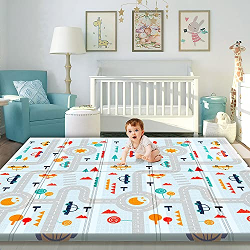 Gimars XL 0.6 inch Thicker Reversible Foldable Baby Play Mat, Waterproof Foam Floor Baby Crawling Mat, Portable Baby Playmat for Infants, Toddler, Kids, Indoor Outdoor Use (79 x71x0.6 inch)