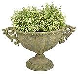 Esschert Design Aged Metal Grün Vase oval S aus veraltetem Metall, 40,0 x 23,4 x 24,0 cm