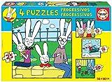 Educa 18889 Simón el Conejo. Set de 4 Puzzles Progresivos Infantiles. 12, 16, 20 y 25 Piezas. +3 años. Ref, Multicolor