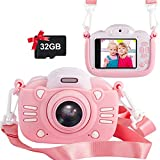 Kids Camera for Girls 30MP Digital Camera for Kids Selfie Video Camera 2.4 Inch Screen Toddler Camera 3 4 5 6 7 8-10 12 Year Old Children Toy Camera Gifts for Kids Camcorder with 32GB TF Card, Pink
