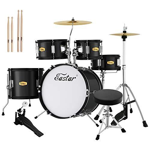 Drum Set Eastar 16 inch Kids Drum Set 5-Piece Junior Drum Set for Kids with Adjustable Throne and Cymbal, Pedal & Drumsticks, Metallic Black (EDS-350BK)