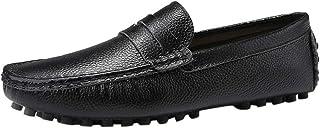 Soldes Homme Mocassins en Cuir Noir Conduite Large,Overdose Hiver Automne Mode Chaussures à Enfiler Casual Workwear Costum...