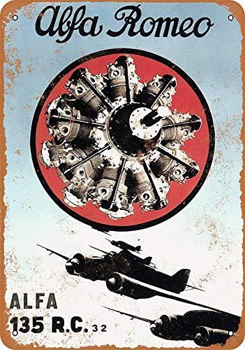 Lorenzo Alfa Romeo Aircraft Engines Vintage Metal Vintage Metallblechschild Wand Eisen Malerei Plaque Poster Warnschild Cafe Bar Pub Bier Club Dekoration