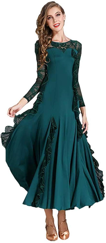 Women's Modern LongSleeved Round Neck Latin Dance Dress, Bud Silk Gauze Slim Dress